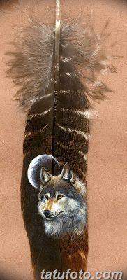 Фото тату волк и перо от 21.09.2018 №050 – tattoo wolf and feather – tatufoto.com