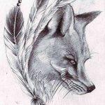 Фото тату волк и перо от 21.09.2018 №052 - tattoo wolf and feather - tatufoto.com