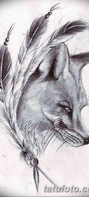 Фото тату волк и перо от 21.09.2018 №052 – tattoo wolf and feather – tatufoto.com