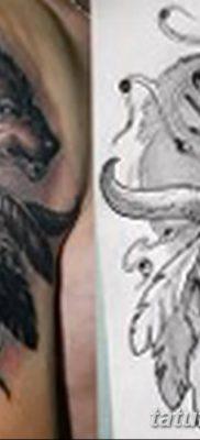 Фото тату волк и перо от 21.09.2018 №053 – tattoo wolf and feather – tatufoto.com