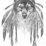 Фото тату волк и перо от 21.09.2018 №055 - tattoo wolf and feather - tatufoto.com