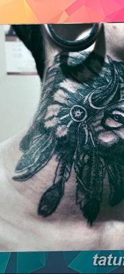 Фото тату волк и перо от 21.09.2018 №057 – tattoo wolf and feather – tatufoto.com