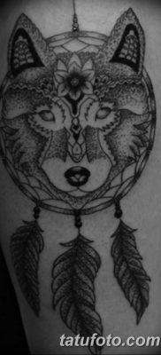 Фото тату волк и перо от 21.09.2018 №063 – tattoo wolf and feather – tatufoto.com