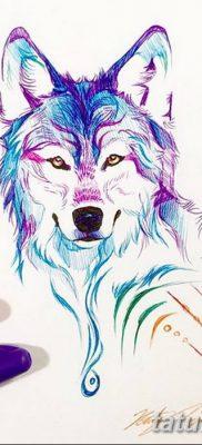 Фото тату волк и перо от 21.09.2018 №075 – tattoo wolf and feather – tatufoto.com