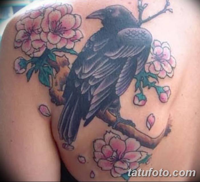 Фото тату ворон от 15.09.2018 №004 - raven tattoos - tatufoto.com