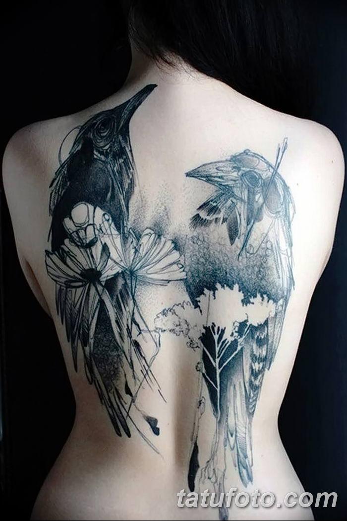 Фото тату ворон от 15.09.2018 №009 - raven tattoos - tatufoto.com