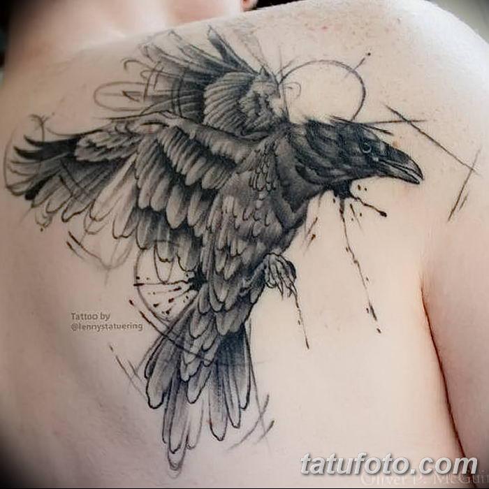 Фото тату ворон от 15.09.2018 №015 - raven tattoos - tatufoto.com