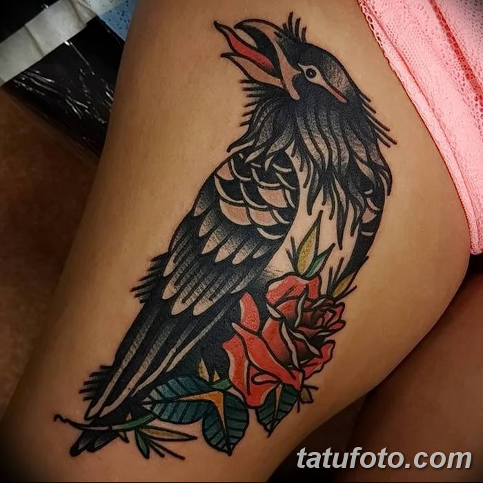 Фото тату ворон от 15.09.2018 №028 - raven tattoos - tatufoto.com
