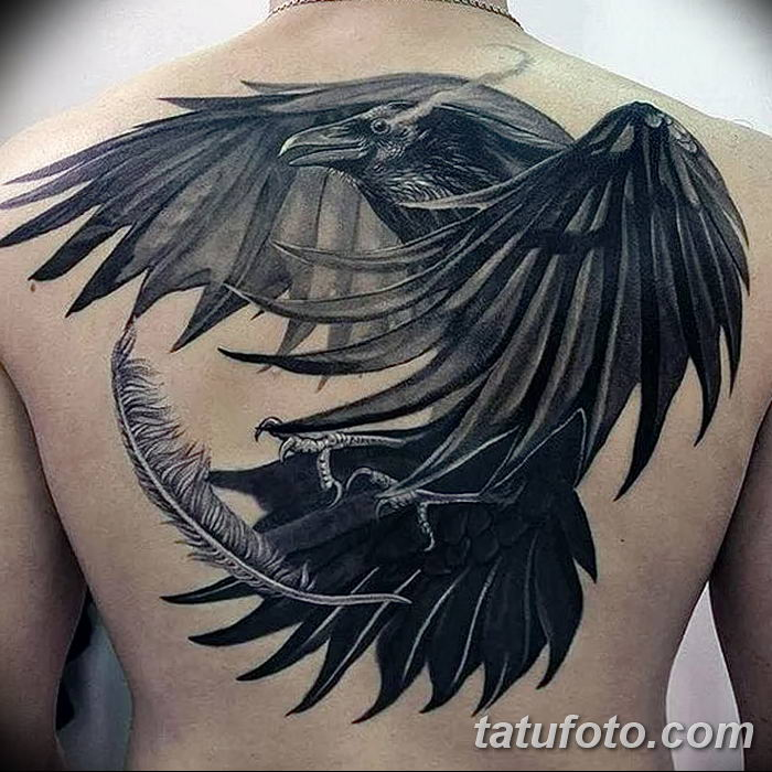 Фото тату ворон от 15.09.2018 №030 - raven tattoos - tatufoto.com