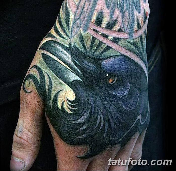 Фото тату ворон от 15.09.2018 №034 - raven tattoos - tatufoto.com