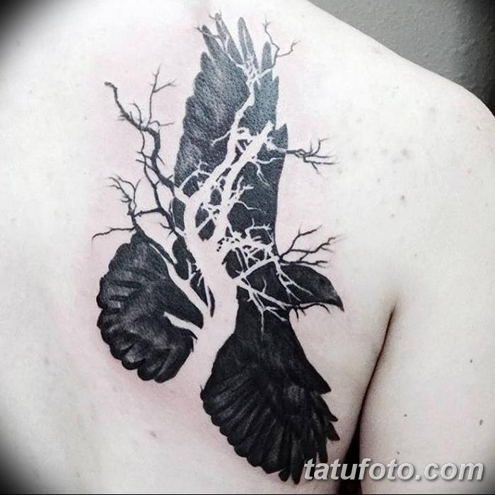 Фото тату ворон от 15.09.2018 №036 - raven tattoos - tatufoto.com