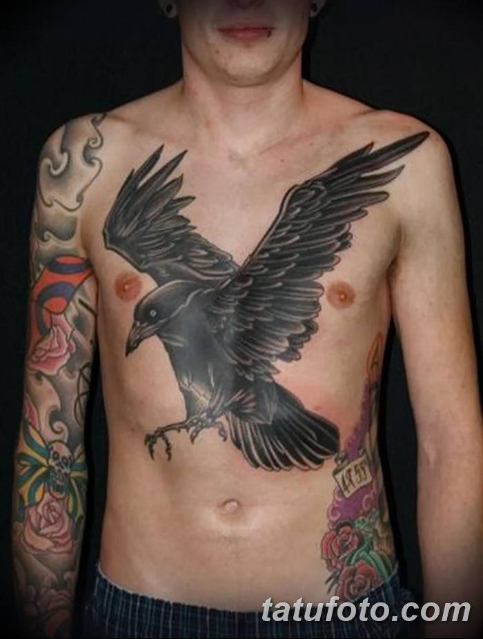 Фото тату ворон от 15.09.2018 №048 - raven tattoos - tatufoto.com
