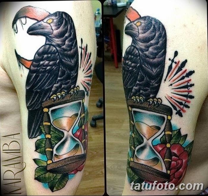 Фото тату ворон от 15.09.2018 №054 - raven tattoos - tatufoto.com