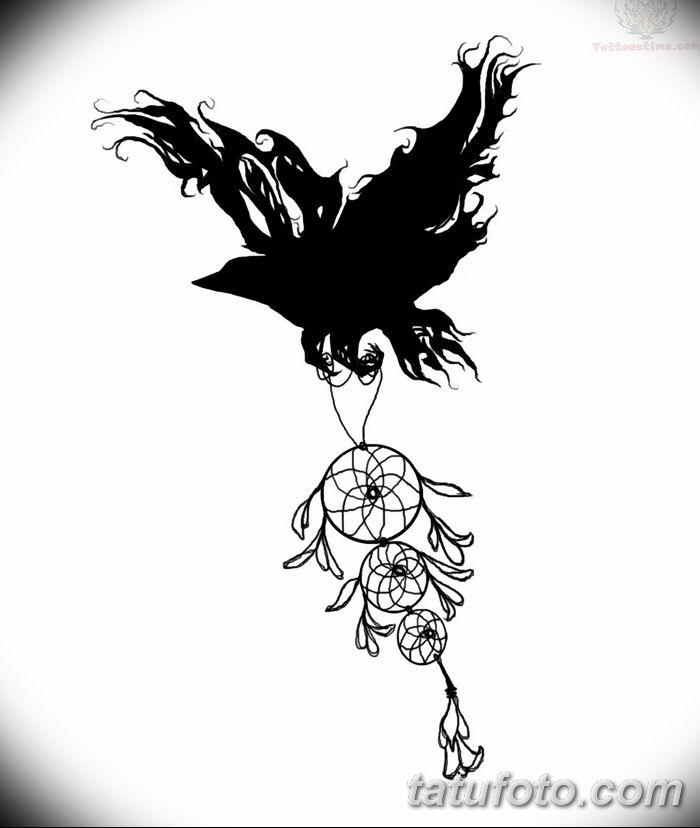 Фото тату ворон от 15.09.2018 №061 - raven tattoos - tatufoto.com
