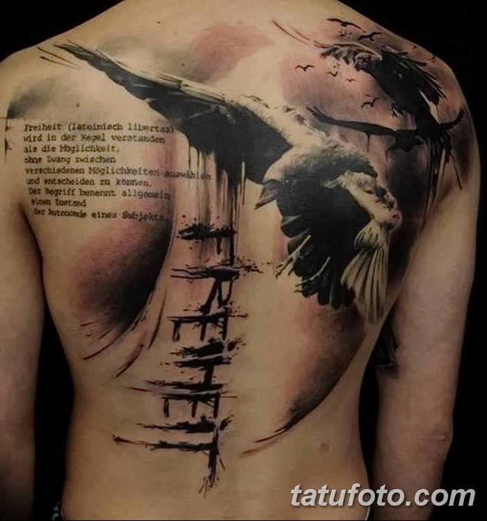 Фото тату ворон от 15.09.2018 №070 - raven tattoos - tatufoto.com