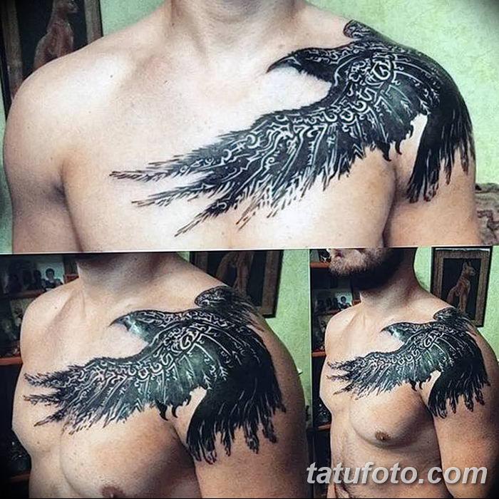 Фото тату ворон от 15.09.2018 №075 - raven tattoos - tatufoto.com