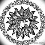 Bohemian hand drawn sun and moon.