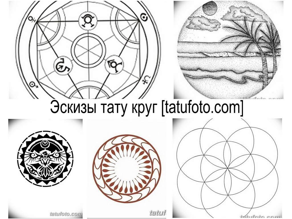 Эскизы тату круг - оригинальные варианты рисунков для татуировки на с кругом