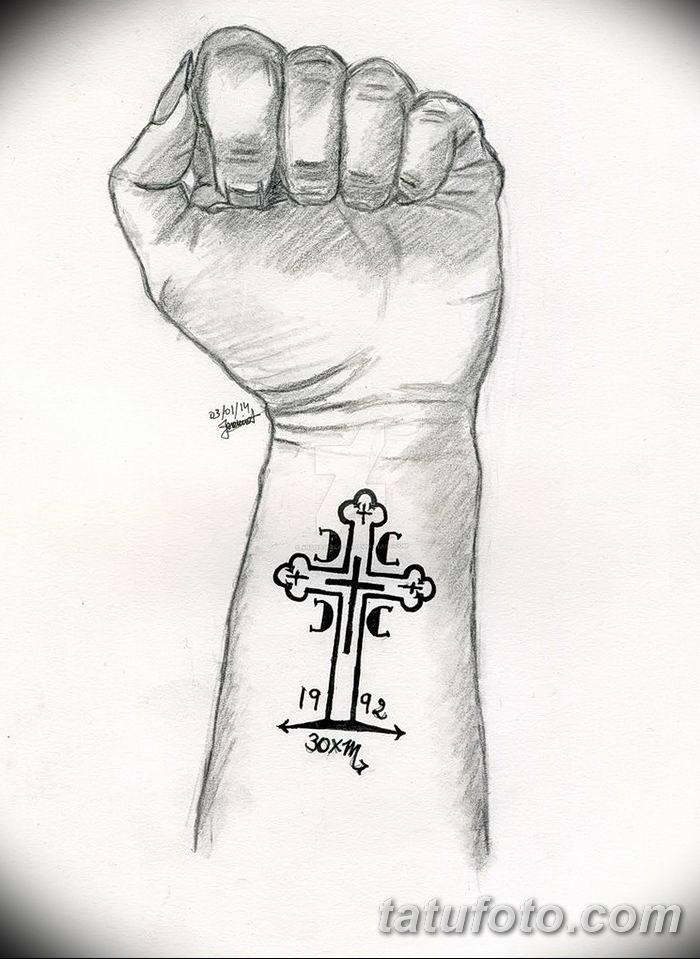 Фото рисунка тату Православный крест 12.10.2018 №002 - tattoo Orthodox - tatufoto.com