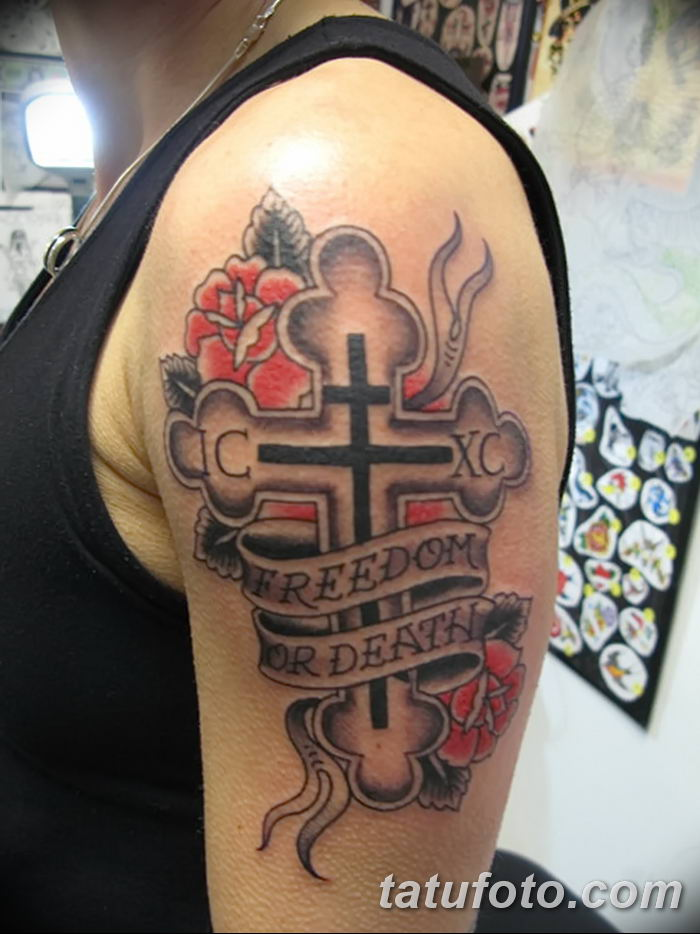 Фото рисунка тату Православный крест 12.10.2018 №070 - tattoo Orthodox - tatufoto.com