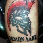Фото рисунка тату шлем спартанца 09.10.2018 №002 - spartan helmet tattoo - tatufoto.com