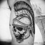 Фото рисунка тату шлем спартанца 09.10.2018 №003 - spartan helmet tattoo - tatufoto.com