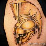 Фото рисунка тату шлем спартанца 09.10.2018 №016 - spartan helmet tattoo - tatufoto.com