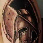 Фото рисунка тату шлем спартанца 09.10.2018 №033 - spartan helmet tattoo - tatufoto.com