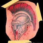 Фото рисунка тату шлем спартанца 09.10.2018 №051 - spartan helmet tattoo - tatufoto.com