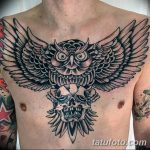 Фото тату сова с черепом 15.10.2018 №021 - owl tattoo with skull - tatufoto.com
