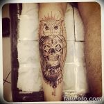 Фото тату сова с черепом 15.10.2018 №026 - owl tattoo with skull - tatufoto.com