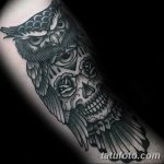 Фото тату сова с черепом 15.10.2018 №027 - owl tattoo with skull - tatufoto.com