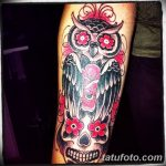 Фото тату сова с черепом 15.10.2018 №043 - owl tattoo with skull - tatufoto.com