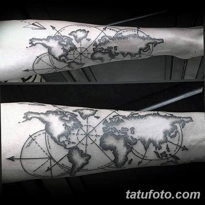 Фото тутуировка карта мира 29.10.2018 №034 - tattoo world map photo - tatufoto.com