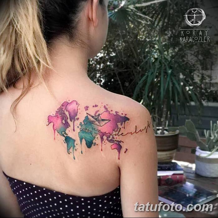 Фото тутуировка карта мира 29.10.2018 №104 - tattoo world map photo - tatufoto.com