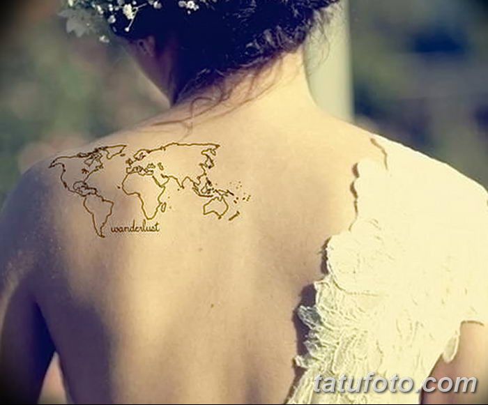 Фото тутуировка карта мира 29.10.2018 №108 - tattoo world map photo - tatufoto.com