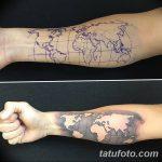 Фото тутуировка карта мира 29.10.2018 №113 - tattoo world map photo - tatufoto.com