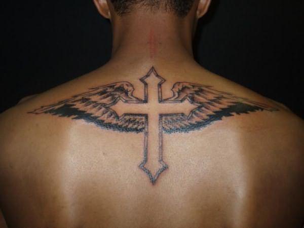 православный крест на спине тату 4