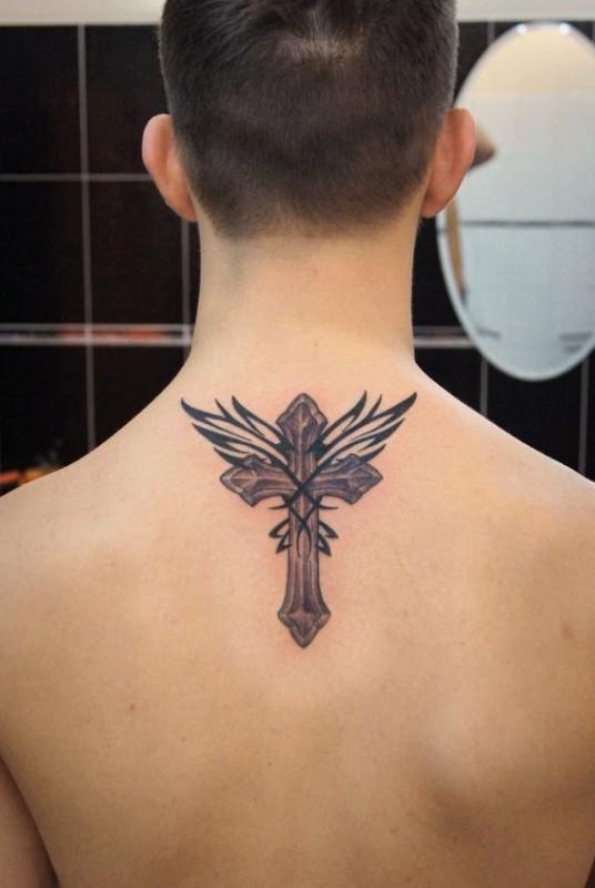 православный крест на спине тату 6