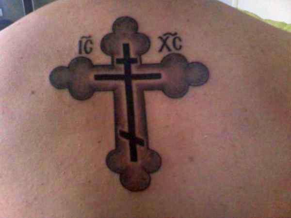 православный крест на спине тату 7