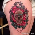 Фото рисунка тату череп в зеркале 25.11.2018 №027 - tattoo skull in mirror - tatufoto.com