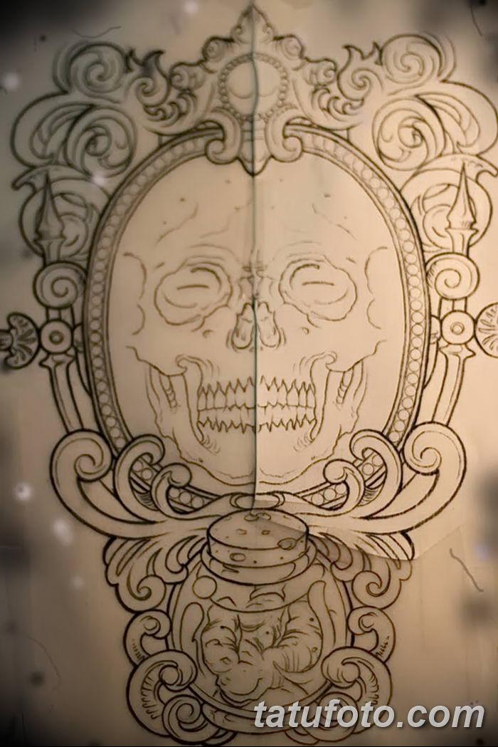 Фото рисунка тату череп в зеркале 25.11.2018 №035 - tattoo skull in mirror - tatufoto.com