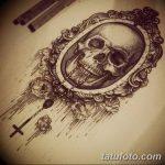 Фото рисунка тату череп в зеркале 25.11.2018 №037 - tattoo skull in mirror - tatufoto.com