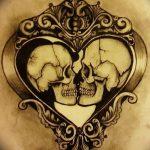 Фото рисунка тату череп в зеркале 25.11.2018 №039 - tattoo skull in mirror - tatufoto.com