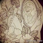 Фото рисунка тату череп в зеркале 25.11.2018 №041 - tattoo skull in mirror - tatufoto.com