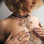 фото рисунка Мехенди на женской груди 30.11.2018 №040 - Mehendi breast - tatufoto.com