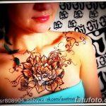 фото рисунка Мехенди на женской груди 30.11.2018 №042 - Mehendi breast - tatufoto.com