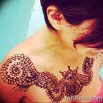 фото рисунка Мехенди на женской груди 30.11.2018 №082 - Mehendi breast - tatufoto.com