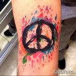 фото рисунка тату пацифизм - знак мира 14.11.2018 №017 - Tattoo pacifism - tatufoto.com