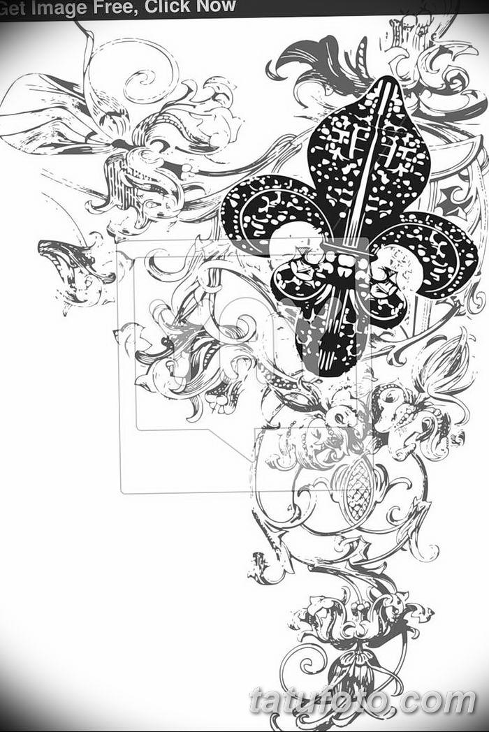 эскиз тату геральдическая лилия 12.11.2018 №011 - sketch tattoo heraldic lily - tatufoto.com